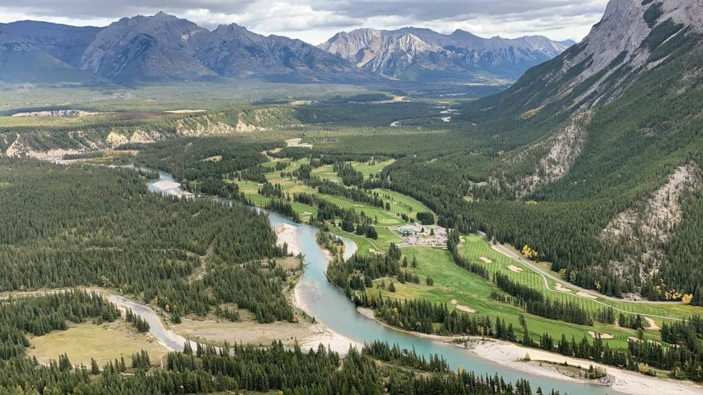 overhead view of tunnel mountain area in banff