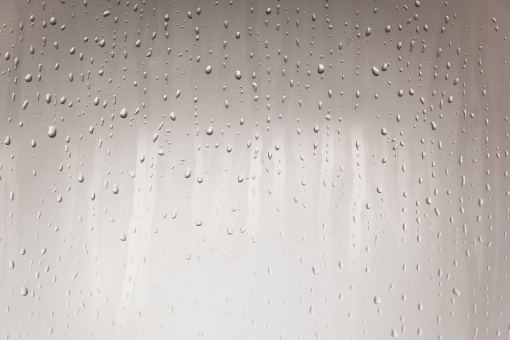 Condensation on glass from hot shower