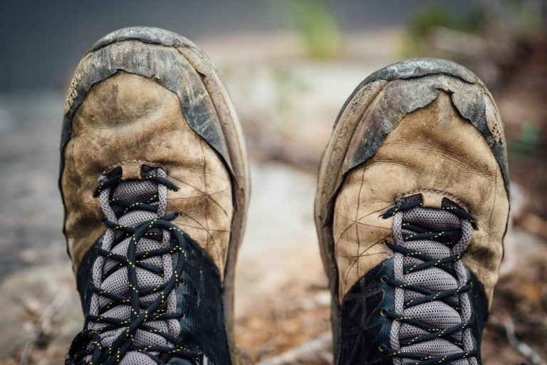 Worn out climbing shoes