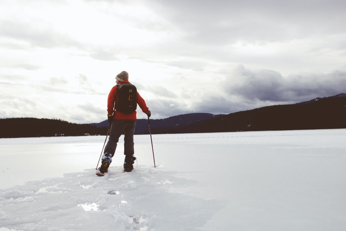 A man doing cross country skiing