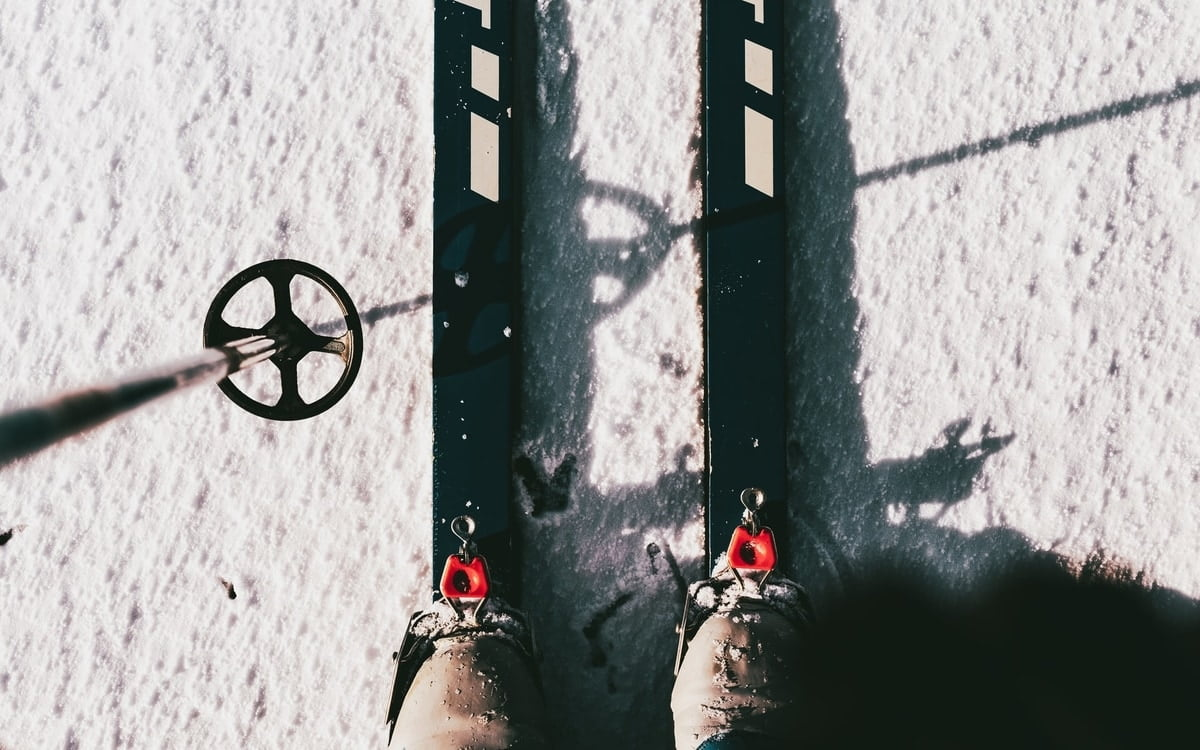 Black skis in the snow