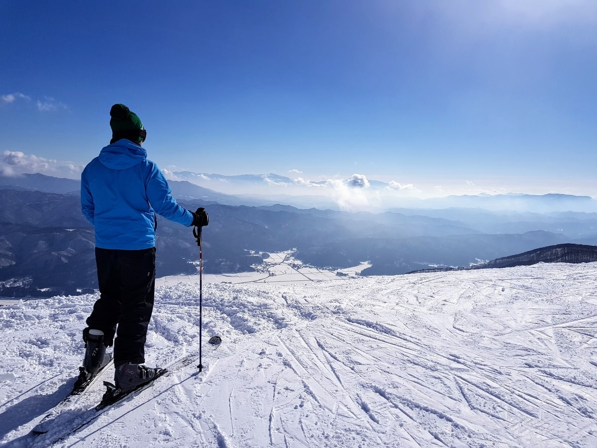 A man looking at the view on his skis