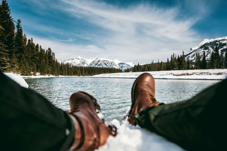 sitting down in snow with boots