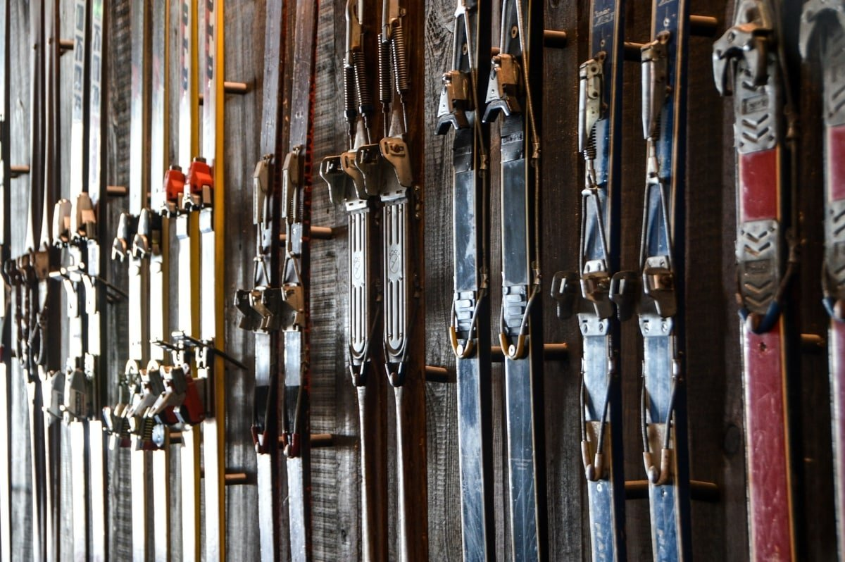 Vintage skis on a wall