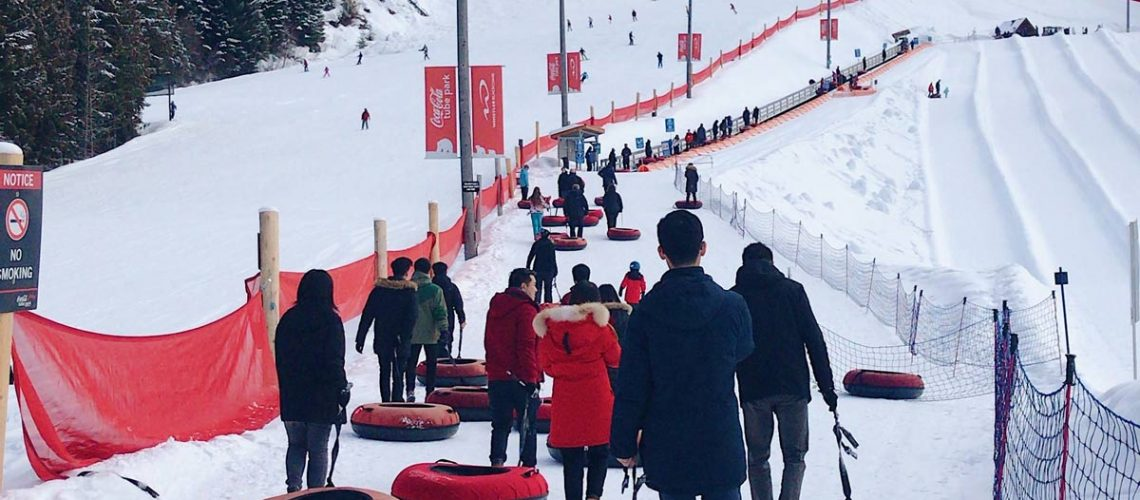 snow tubing at Whistler in Canada